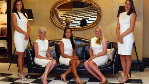 L-R Laura Robson, Judy Murray, captain of Great Britain, Anne Keothavong, Elena Baltacha and Johanna Konta of Great Britain pose for a team photo at the Pan Americano Hotel during previews ahead of the Fed Cup World Group Two Play-Offs between Argentina and Great Britain at Parque Roca on April 18, 2013 in Buenos Aires, Argentina.