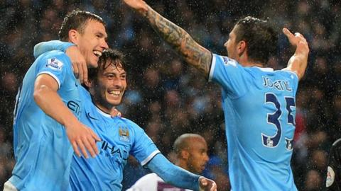 Dzeko, Silva and Jovetic celebrate City's win