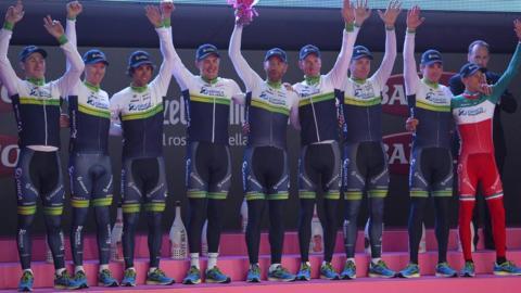 Oreca Greenedge from Australia won the team time trial on the first day of the 2014 Giro d'Italia