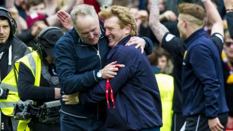 Stuart McCall celebrates Motherwell clinching second place over Aberdeen