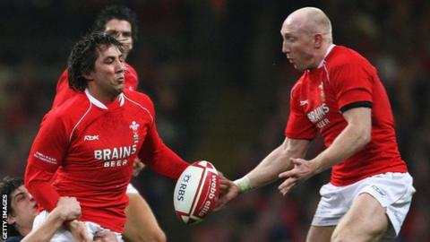 Gavin Henson and Tom Shanklin playing for Wales in 2008