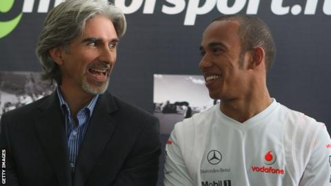 Damon Hill with Lewis Hamilton