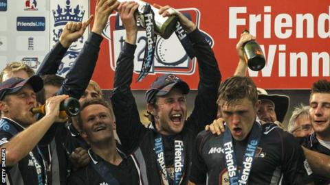 Northamptonshire celebrate 2013 T20 win