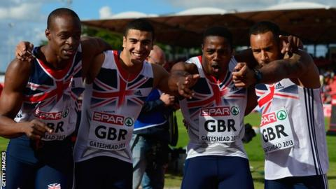 British sprinters from left to right: James Dasaolu, Adam Gemili, Harry Aikines-Aryeetey and James Ellington