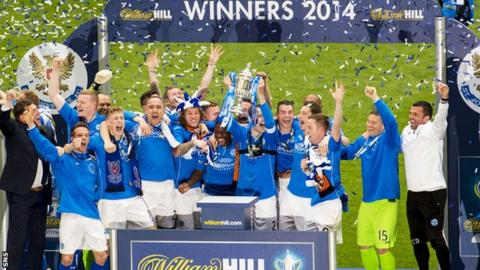 St Johnstone's players celebrate the win