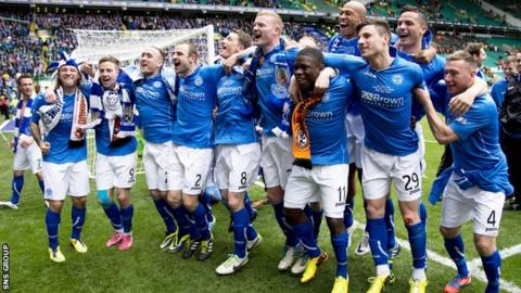 St Johnstone celebrate their Scottish Cup victory over Dundee United