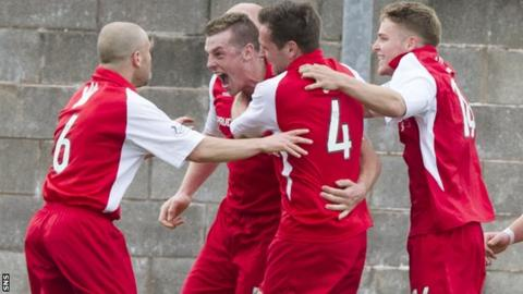 Jordan White celebrates after scoring the opener for Stirling Albion