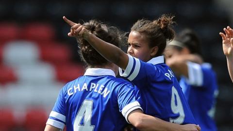 Nikita Parris scores for Everton in their Women's Super League match against Bristol Academy.