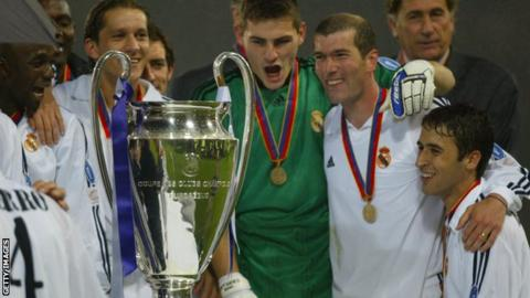 Real Madrid celebrate winning the Champions League in 2002
