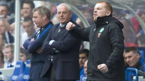 Neil Lennon in the Ibrox dugout