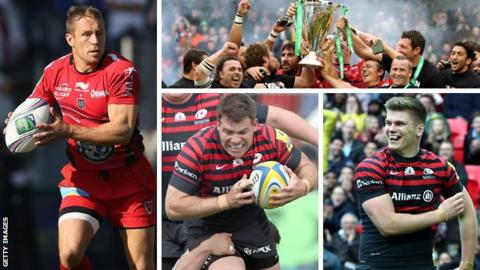 Clockwise from left: Toulon fly-half Jonny Wilkinson, Toulon lift the trophy in 2013, Saracens fly-half Owen Farrell and Saracens hooker Schalk Brits