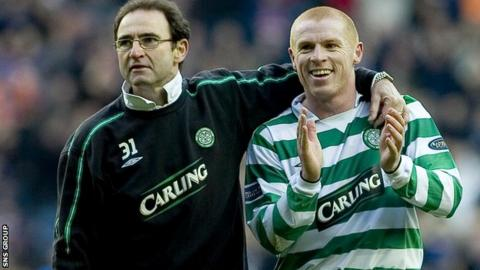 Martin O'Neill and Neil Lennon celebrate a Celtic win at Ibrox in 2004