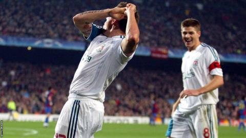 Bellamy's infamous 'golf stroke' celebration after scoring in the Champions League for Liverpool
