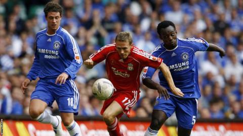 Craig Bellamy playing in the Community Shield against Chelsea