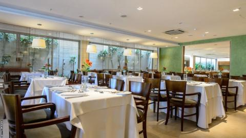 The restaurant at the Royal Tulip Hotel