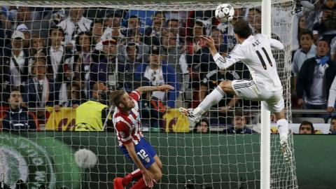 Gareth Bale heads Real Madrid into a 2-1 lead after reacting quickest once Angel Di Maria's shot was saved