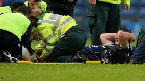 Ryan Jones of Bristol on stretcher