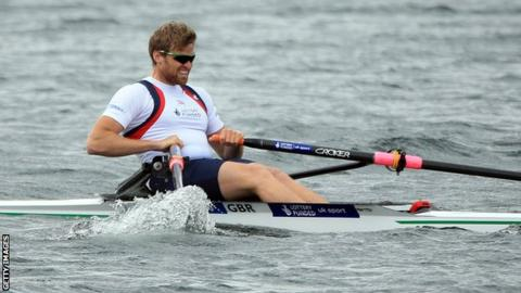 Alan Campbell is through to the semi-finals of the single sculls at European Rowing Championships