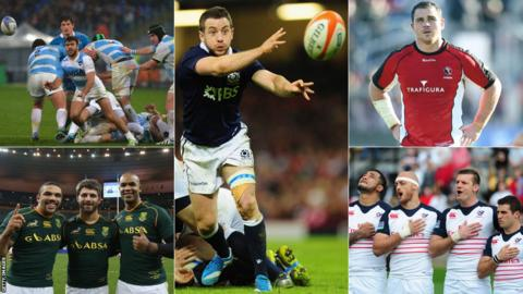Representatives of the South Africa, Argentina, Scotland, Canada and USA rugby teams