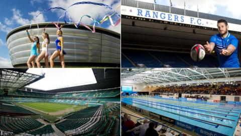 Celtic Park, the Hydro, Ibrox Stadium and Tollcross International Swimming Centre, some of the venues for the Glasgow 2014 Commonwealth Games
