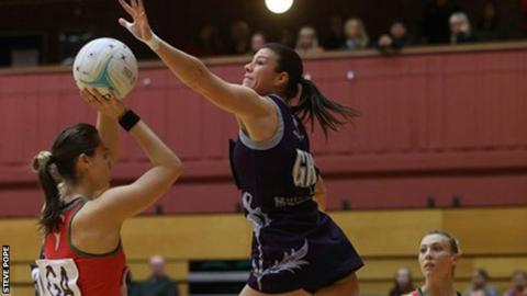 Wales against Scotland in netball's Northern Cup final