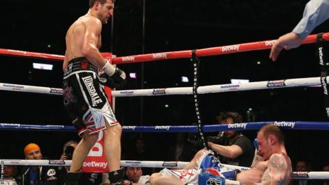 The decisive punch saw George Groves's legs crumple beneath him, and the referee quickly stepped in and stopped the fight in the eighth round