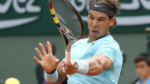 Rafael Nadal in action against Dusan Lajovic