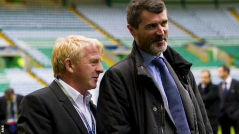 Former Celtic manager Gordon Strachan and Roy Keane at Celtic Park