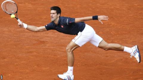 Novak Djokovic during his quarter-final win over Milos Raonic