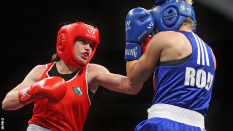 Katie Taylor during her victory over Romania's Lavinia Mera at the European Amateur Championships on Wednesday