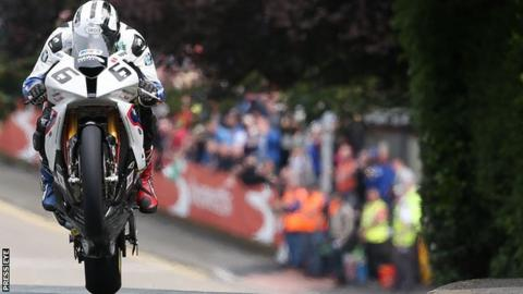 Michael Dunlop in action at the TT races on the Isle of Man