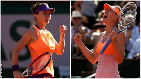 Simona Halep (left) and Maria Sharapova (right)