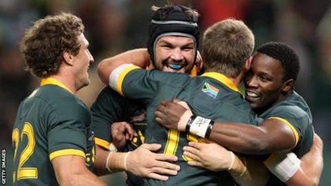 South Africa players celebrate a try in their victory over a World XV