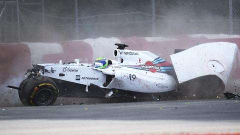 Williams driver Felipe Massa suffers a huge crash on the final lap of the Canadian Grand Prix