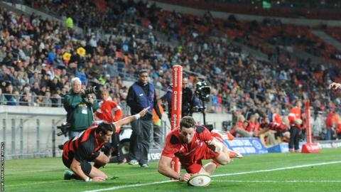 Alex Cuthbert scores Wales' fourth try in the victory over EP Kings in Port Elizabeth.