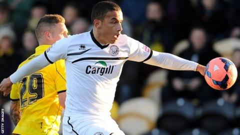 Rod McDonald, playing for Hereford United in the FA Cup first round against Burton Albion, November 2013