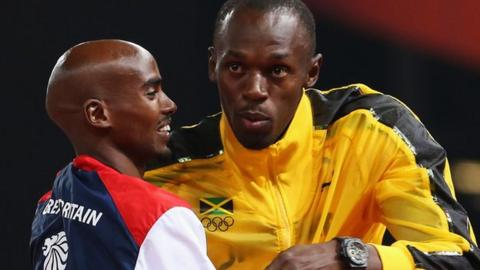 Mo Farah and Usain Bolt embrace