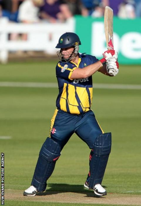 Mark Wallace bats during Glamorgan's T20 Blast group game against Kent at the Swalec Stadium.