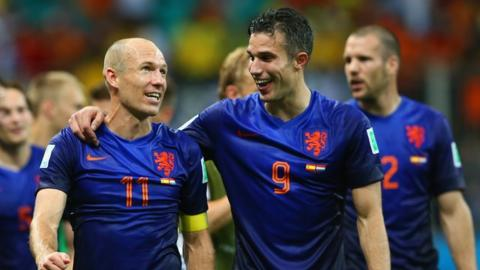 World Cup 2014: Netherlands celebrate victory over Spain