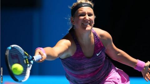 Victoria Azarenka playing tennis