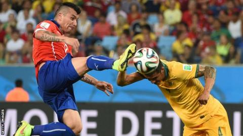Gary Medel in action for Chile in the World Cup in Brazil against Australia