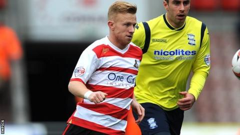Mark Duffy played in Doncaster Rovers' 3-1 home defeat by Birmingham City on 5 April