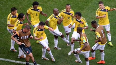 Colombia celebrate the first goal