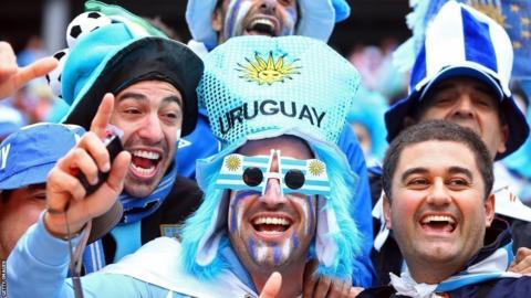 Uruguay fans ahead of the World Cup Group D game with England in Sao Paulo