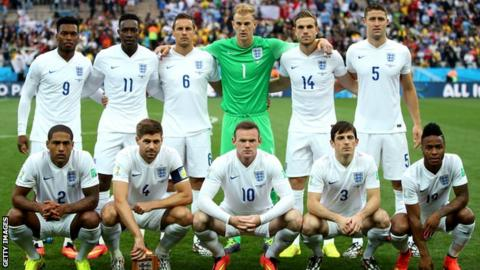 England line up for a team photo prior to their match with Uruguay.