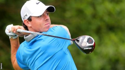 Rory McIlroy in action at the Irish Open