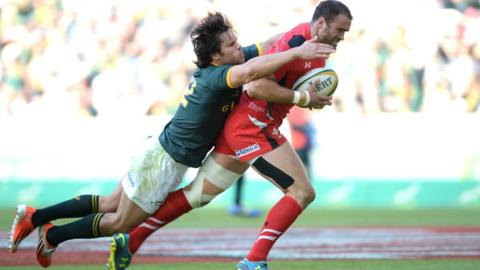 Jamie Roberts powers over for a deserved opening try for Wales against South Africa in the second Test.
