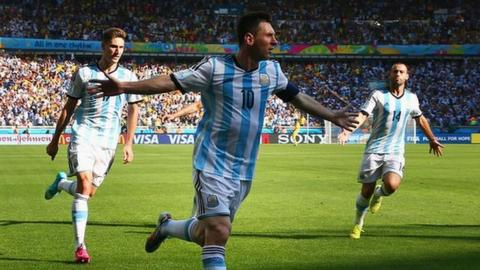 Argentina's Lionel Messi celebrate's scoring against Iran