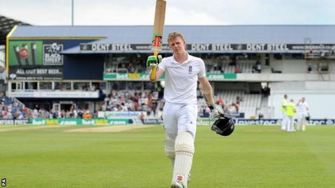 England batsman Sam Robson departs for 127