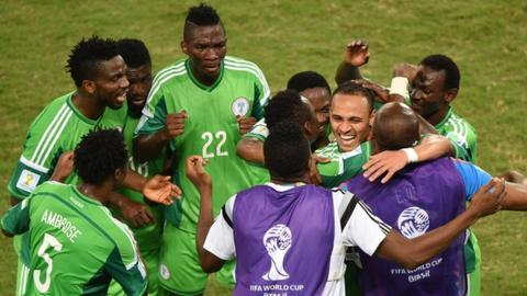 Nigeria celebrate after Peter Odemwingie's goal